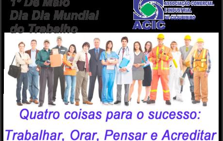 Associação comercial de Cujubim, dia do trabalhador, parabéns